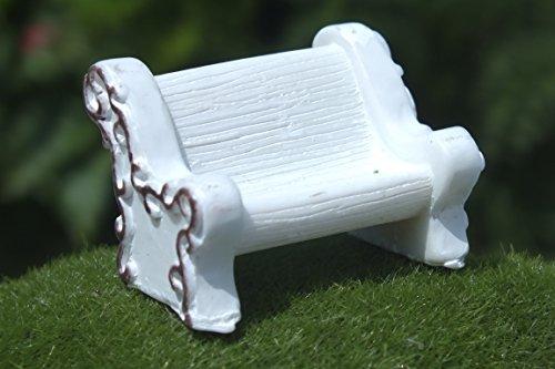 Boutique d'isacrea Miniature en RESINE : Banc Blanc 3.8 * 2.7cm