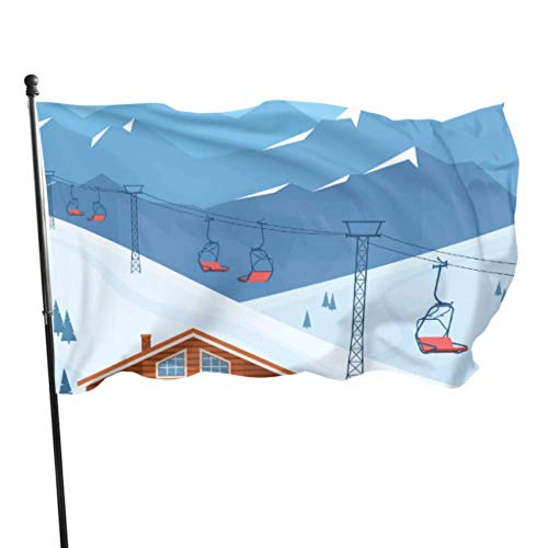 N/A Paysage de Montagne d'hiver avec des Maisons Drapeaux décoration de fête Drapeaux décoration Murale 3x5 Pieds Couleurs vibrantes qualité Polyester et œillets en Laiton