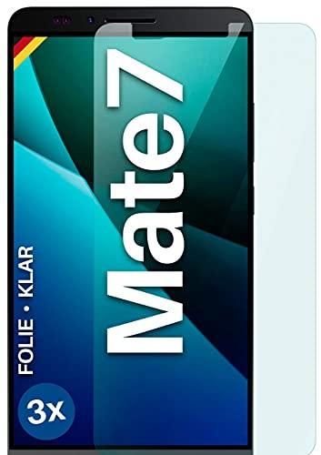 moex Klare Schutzfolie kompatibel mit Huawei Ascend Mate 7 - Bildschirmfolie kristallklar, HD Bildschirmschutz, dünne Kratzfeste Folie, 3X Stück