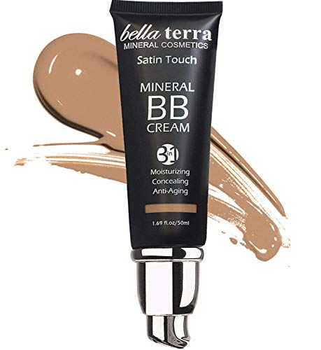 Bellaterra Cosmetics BB Cream Tinted Moisturizer, Mineral Foundation, Concealer, Anti-Aging, Natural Sun Protection, All Shades 1.69oz - Medium Tan 105