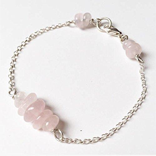 Pulsera de cuarzo rosa de plata de ley, pulsera de cuarzo rosa, pulsera de cuentas de plata y rosa, pulsera de apilamiento de cadena semipreciosa de 4 a 7 mm