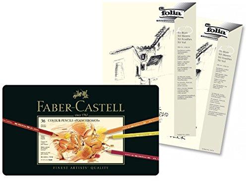 Faber-Castell 110036 - Künstlerfarbstift POLYCHROMOS (36er Metalletui + 2x Skizzenblock A4)