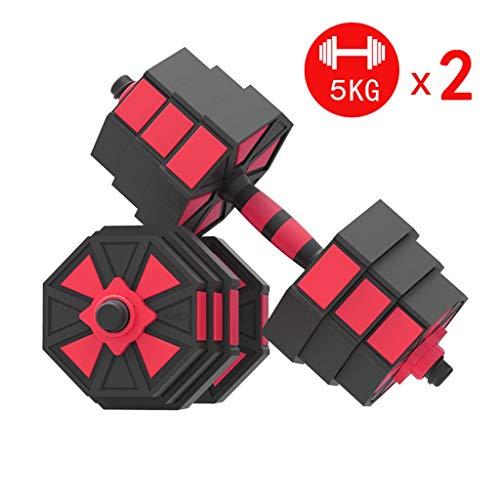 Mancuernas 5kg X2 Series Dumbbell ajustable con pesos asa ajustable Gimnasio Equipo for el hombre y la mujer respetuosa del medio ambiente brazo del entrenamiento de fitness pesas for Prevenir Smashin