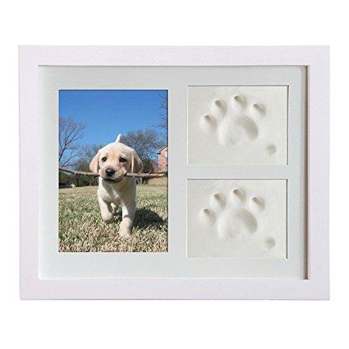 Petilleur Bilderrahmen Hundepfote Fotorahmen Gedenk für Hund und Pfote mit Lehm (Weiß)