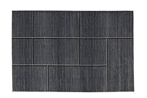 heine home Teppich Wohnzimmer Esszimmer Flur Uni grau mit 4-Eck Muster ca. 133x190 cm