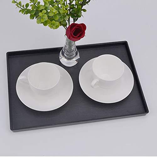 LLKK Bandeja de Servicio,Bandeja Rectangular Negra,Placa de plástico para Taza de Agua acrílica para el hogar y Bandeja de té