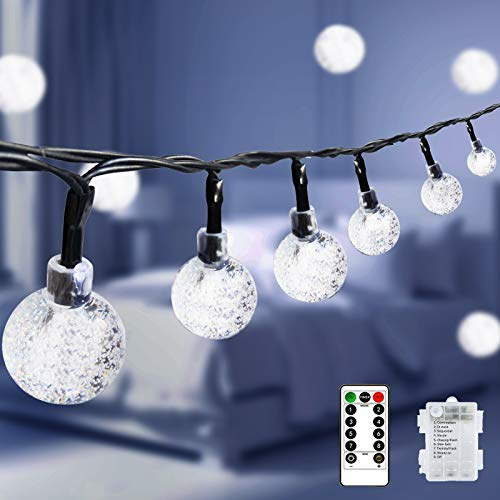 LiyuanQ Fairy String Lights Globe Lights Battery Operated 60 LED Decoration Light with Remote Ball Lights Waterproof Indoor Outdoor Hanging Light for Christmas Wedding Party Decor [Energy Class A+++]