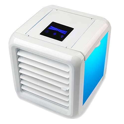 Froadp Mini Mobile Klimageräte 3 Geschwindigkeiten Multifunktion Lufterfrischer Klimaanlage mit 7 Farben LED-Leuchten und Wassertank 8h Kühlung für Büro Küche Camping(Type C)