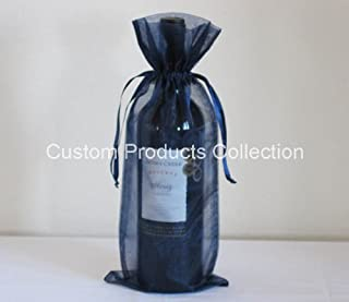 12 Navy Blue Organza Bags - Bottle/Wine Bags Gift Pouch, 6