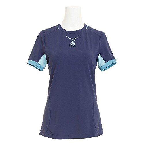 Odlo S/S Crew Neck Ceramicool T-Shirt pour Femme S Multicolore - Bleu (Peacoat/Blue Radiance)