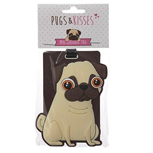 Cute Pug PVC Luggage Tag ~ Pugs and Kisses Design