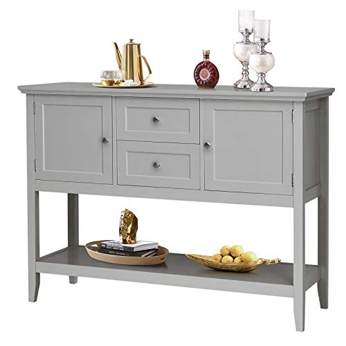 Giantex Buffet Sideboard, Wood Storage Cabinet, Console Table with Storage Shelf, 2 Drawers and Cabinets, Living Room Kitchen Dining Room Furniture, Wood Buffet Server (Grey)