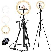 """PEYOU LED Ringlicht mit Stativ, 12""""/ 30cm Selfie Ringleuchte Stativ (63""""/161cm) mit Handyhalter und Fernbedienung, 3-farbi Dimmbares Ring Light für Kamera Make-up und YouTube Video"""