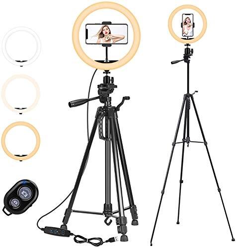 """PEYOU LED Ringlicht mit Stativ, 12\""""/ 30cm Selfie Ringleuchte Stativ (63\""""/161cm) mit Handyhalter und Fernbedienung, 3-farbi Dimmbares Ring Light für Kamera Make-up und YouTube Video"""