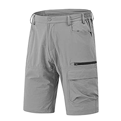 YSENTO Men's Quick Dry Cargo Hiking Shorts Stretch Tactical Shorts Zipper Pockets(Light Grey, US 34)
