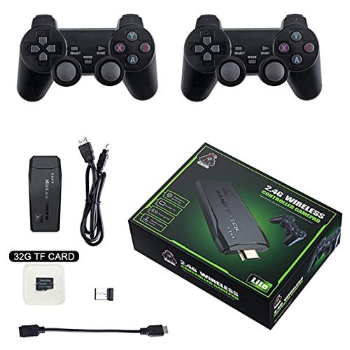 ZHZHO Videospielkonsole, 4K 2.4G Wireless 10000-Spiel, 64 GB Retro Classic Game Controller, verwendet für Nintendo / PS1 / TV-Heimvideospielkonsole, Freunde, 2 Gamecontroller