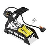 Relaxdays Fußpumpe mit Manometer, alle Ventile, 3 Aufsätze, Fahrrad, Ball & Luftmatratze, 24x32x12,5 cm, gelb/schwarz