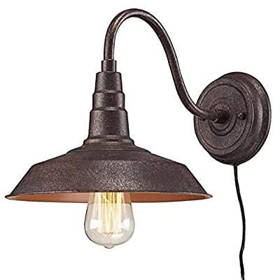 Kiven Rust Gooseneck Plug-in Wall Sconces Barn Warehouse Farmhouse Sconces Wall Lighting