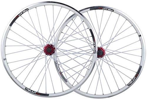 Knoijijijuo Mountainbike wielenset 26 inch, dubbelwandig MTB-velg snelle introductie V-brake schijfrem hybride 32 gat 8 9 10 snelheden, wit
