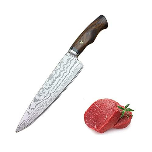Couteau à sashimi 7.5'Chef professionnel à la main VG10 Damas Cuisine à lame de Damas Couteau de cuisson de bœuf de style japonais