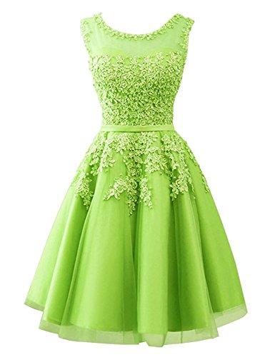 Carnivalprom Damen Abendkleider Mit Applikationen Elegant Ballkleid Brautjungfernkleider Kurz Partykleid(Hellgrün,42)