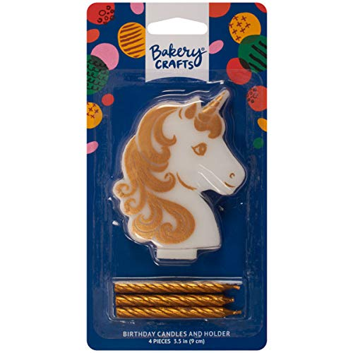 Bakery Craft Golden Unicorn Candle Holder Includes 3 Gold Candles - 26277