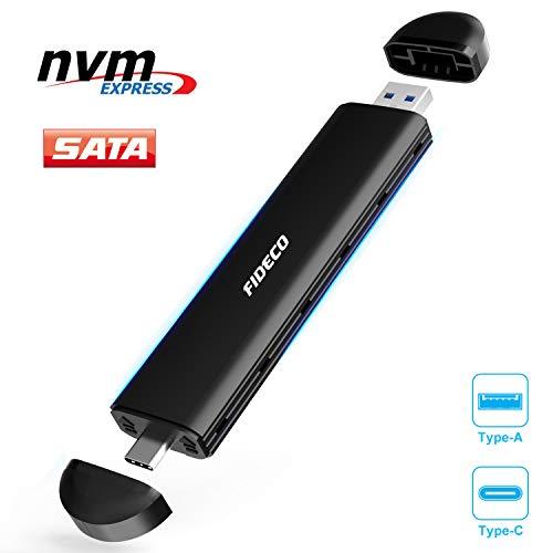 FIDECO M.2 NVME and SATA SSD Gehäuse, USB 3.2, 10Gbps, Gen2 Festplattengehäuse Adapter, Festplatten-Caddy für M.2 NVME or SATA SSD 2242/2260/2280, Unterstützt M-Key, B-Key und B+M Key