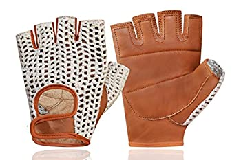 Real Soft Leather Crochet Fingerless Driving Weight Training Cycling Wheelchair Gloves W-049  Large
