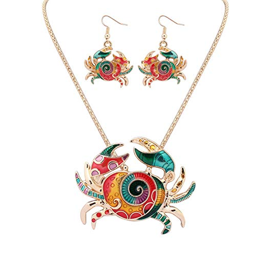 J.Memi.FA Krabbe Halskette Anhänger Emaille Mode Schmuck Ohrring Set Frauen Mädchen Freundin Mutter Tochter,Gold