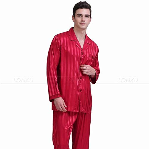 Handaxian Conjunto de Pijamas de satén de Seda para Hombres