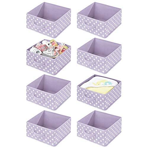 mDesign Juego de 8 Cajas organizadoras para Habitaciones Infantiles – Organizadores de armarios con asa y Parte Superior Abierta – Cajas de Tela para Juguetes en Fibra sintética – Violeta/Blanco