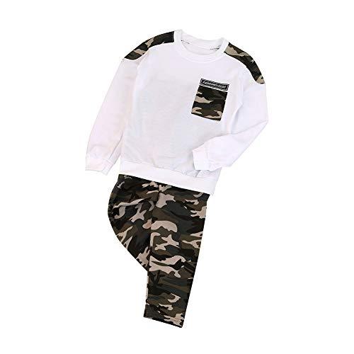 Hankyky Autumn - Conjunto de Camisetas y Pantalones de Manga Larga para bebé, diseño de Camuflaje - Blanco - 7-8 años