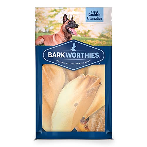 Barkworthies All Natural Whole Cow Ears for Dogs (12 Pack) - Healthy Dog Chews - Free Range Grass Fed 100% Beef - Single Ingredient Premium Dog Treat - Promotes Dental Health