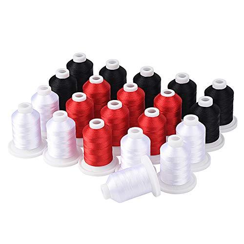Simthread Kit de hilo para máquina de bordar 800Y 21 bobinas color negro blanco y rojo para diseño de bordado profesional