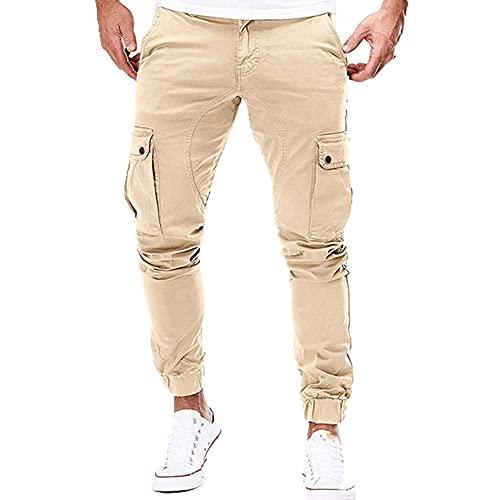 N\P Hombres Joggers Pantalones De Color Sólido Cargo Militar Pantalones De Chándal Multi-Bolsillo De Primavera