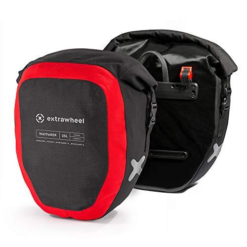 EXTRAWHEEL 2er Set [25L-50L] Fahrradtasche Wasserdicht Geruchsneutral Gepäckträger Hinterradtasche Cordura/Polyester (Material: Cordura, 50L (2x25L))
