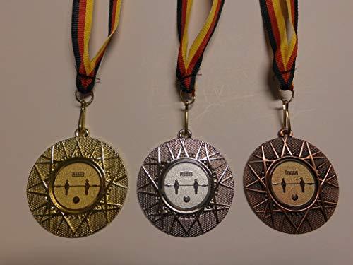 Medaillen Set - aus Metall 50mm - Fußball - Kicker - Tischfußball - Gold - Silber - Bronze - Fussball - Medaillenset - mit Medaillen-Band - mit Alu Emblem - Gold,Silber,Bronce - (e225) -