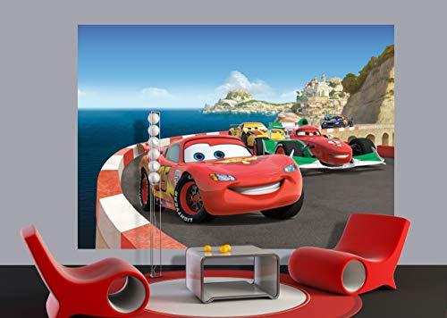 AG Design FTDs1924 Disney Cars, Papier Fototapete Kindrzimmer - 255x180 cm - 2 teile, Papier, multicolor, 0,1 x 255 x 180 cm