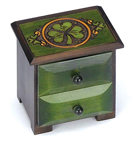 Lucky Shamrock Chest of Drawers Celtic Handcrafted Jewelry Keepsake Made in Poland