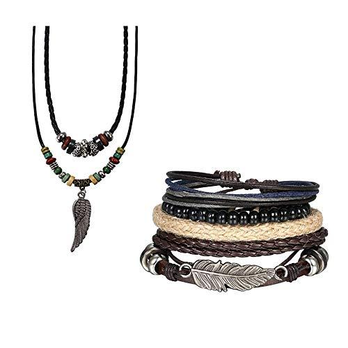 Flongo - Collar de cuero trenzado para hombre y mujer con colgante de ala de ángel, longitud ajustable, doble collar largo de estilo étnico tribal Set B