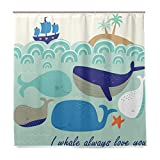 Cartoon-Wal Fisch Schiff Badezimmer Duschvorhang Liner Home Decor Ocean Sea Palm Tree Design Durable Fabric Schimmelresistent Wasserdicht Badewanne Vorhang mit 12 Haken 183,0 cm x 183,0 cm