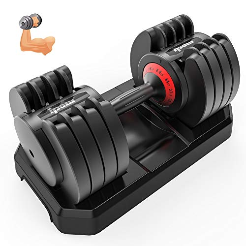 IPOW Adjustable Dumbbell 6.6-44 LB Single Black Dumbbell Set with Tray for...