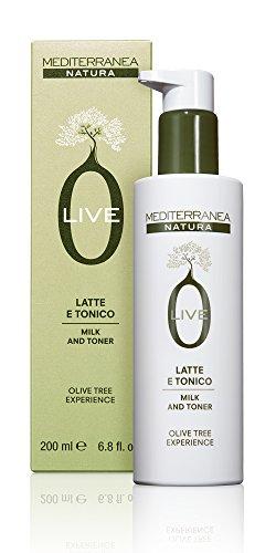 Mediterranea - Olive Latte e Tonico - Tonico Viso Idratante per Donna e Uomo - Deterge Delicatamente e Lascia la Pelle Luminosa ed Elastica - 200 ml