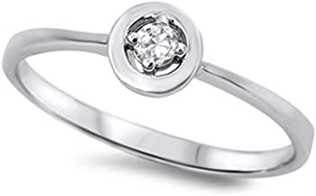 CloseoutWarehouse Cubic Zirconia Protection Against The Evil Eye Ring Sterling Silver (Color Options, Sizes 3-15)