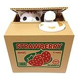 Ziv Coin Bank, Unique Gadgets & Toys Stealing Money Piggy Bank, Cat Piggy Bank (Strawberry Cat)