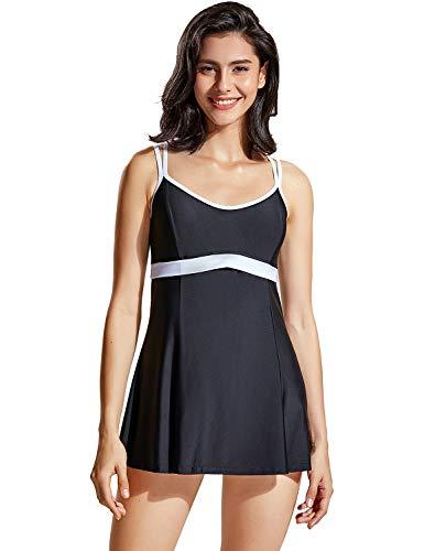 DELIMIRA Damen Badekleid - Einteiler Badeanzug Mit Röckchen Schwimmrock Kreuz Rückseite Schwarz 46