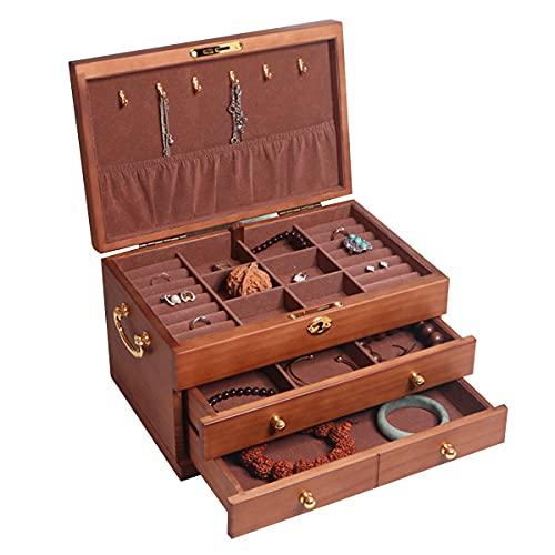 LSRRYD Caja Joyero Caja para Joyas Organizador De Joyas con Cerradura 3 Capas con 2 Cajones Regalo para Seres Queridos Joyero Grande Caja Joyero para Mujer (Size : 29 * 19 * 17.5CM)