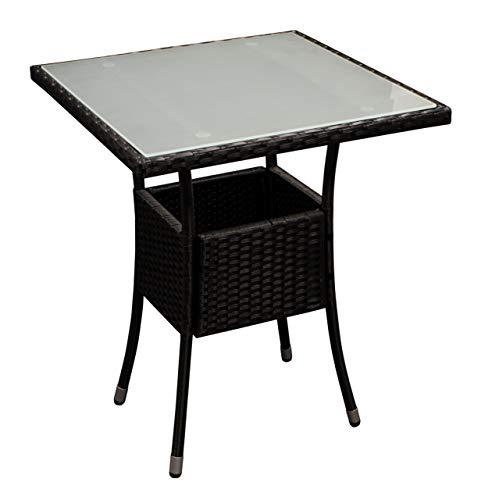 DEGAMO Bistrotisch PIENZA 60x60cm quadratisch, Metallgestell + Bespannung Polyrattan schwarz, Tischplatte Glas mattiert