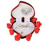 Coffret cadeau pour femme, GARANTIE 2 ANS, dans le coffret montre: une belle bague, un collier chic, et des boucles assorties, CADEAU IDEAL