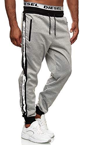C-iN-C Herren Jogginghose Sporthose Fitness Slim Fit Hose Freizeithose Joggers Streetwear Model E1008 (Grau, L)